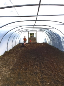 Lea hard at work preparing the soil in the tunnels