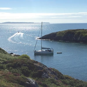 Yacht at anchor Goleen harbour