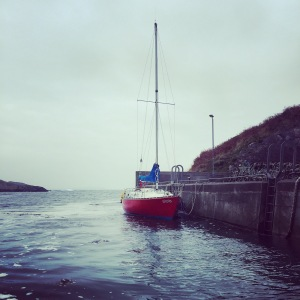 My Ruffian 23 moored at Goleen Harbour outer pier, she'll be ashore for the winter soon.